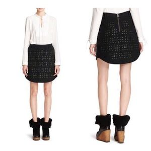 Coach Black X Blitz 'grommet' Shirttail Hem Skirt